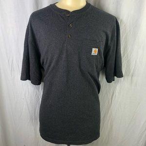 Carhartt Mens Gray XL 1/4 Button T-shirt w/pocket